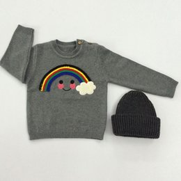 Wholesale Long Coats For Baby Girls - Kids Sweaters for Baby Girls Spring Autumn Outerwear Knit Sweater with Rainbow Cloud INS Popular Children Pullover Long Sleeve Coat Gray