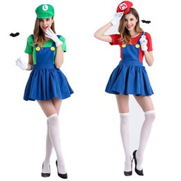 Wholesale mario luigi party - 2017 Halloween Fashion Costumes Sexy Super Mario and Luigi Fancy Dress Halloween Costume Women Hen Party Night Free Shipping