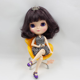Wholesale Nude Dolls - Free shipping Nude ICY Doll Series No.130BL9219 dark purple hair the same as Blyth doll with makeup,JOINT body,lower price