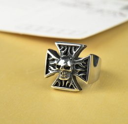 Wholesale Rock Prices - Fashion Rock Big Black Ring Zinc Alloy Skull Iron Cross Ring For Gothic Punk Men Boy Fine Jewelry Promotion Cheap Price
