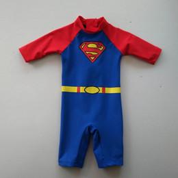 Wholesale Superman Baby One Piece - (0-18M) babies swimsuit Unitard Swimsuit boys Beachwear Bathing Boys Swimwear Factory price Superman Surf Sunsafe UPF 50+ free shipping