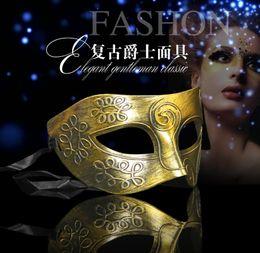Wholesale Gold Masquerade Ball Masks Wholesale - Greco-Roman Gladiator Retro Masks for Masquerade Ball Antique Silver Gold Venetian Mardi Gras Party Ball Mask 10Pcs Lot
