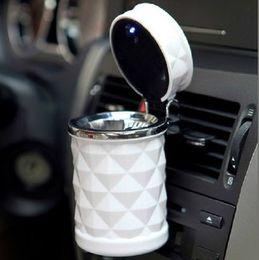 Wholesale Cigarette Ashtrays Car - Wholesale-2 colors Car Accessories Portable LED Car Ashtray High Cigarette Cylinder Holder Car Home Office Use Mini cinzeiro cendrier