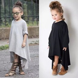Wholesale Chinese Casual Summer Dresses - INS Popular Party Asymmetrical Dresses 2016 Spring Autumn Kid Clothes Girls Tutu Skirt Children Baby Clothes Casual Cotton Solid Black Gray