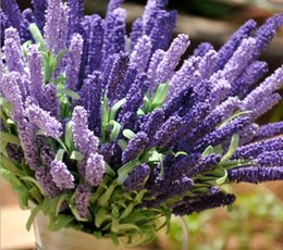 "Wholesale Foam Plant - 18.5 "" Foam Lavender Artificial Flower Bouquet For Wedding Home Decoration Mariage flores artificiales Rosa Flowers Plants 20pcs lot"