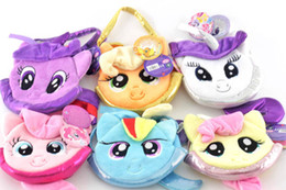 Wholesale Wholesale Animal Purses For Children - Cartoon Anime Multicolor plush toys Pink horse shape coin purse Toys for children Girls favorite small bag