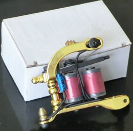 Wholesale Golden Liner - 5Pcs Wholesale NEW PRO QUALITY CAST IRON HANDMADE TATTOO MACHINES GUNSFOR LINER   SHADER DUAL Golden COLOR