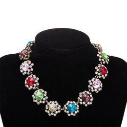 Wholesale Cheap Glass Pearls Crystals - Wholesale cheap fashion new fresh style women colorful diamond glass pendants explosion models pearl necklace hot selling free shipping