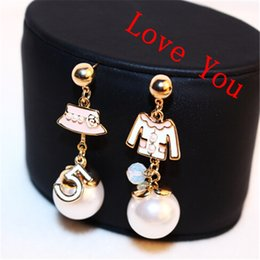 Wholesale Pearl Drop Mother - Women Fashion Jewelry Cloth & Hat asymmetric earrings brand Accessories Korean Pearl Vintagr Gold Plated Drop Dangle Earrings