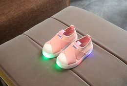 Wholesale Headbands Babies Hard - LED lights glowing girls shells headband belts boys flashing lights baby shoes children sports shoes size 21-30