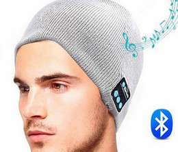 Wholesale Usb Golf - Free Shipping Bluetooth Hat USB Charger Elastic Knitted Caps Support Hand Free Calling Music Listening For Smart Phone Fashion Street Hats