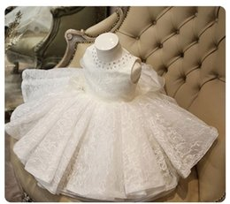 Wholesale Toddler Occasion Dresses - Toddler Pageant Clothes Lace Tulle O-neck Beadeds Flower Girl Dresses For First Communion Dress Special Occasion Wear