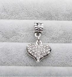Wholesale European Crystal Dangle Charms - Wholesale 7 Colours Heart Charm Beads Dangle 925 Silve Crystal European Charms Bead Fit Pandora Snake Chain Bracelet Fashion DIY Jewelry