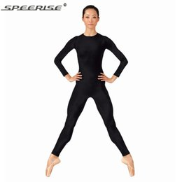 Wholesale Zebra Jumpsuit Women - Wholesale-Women Black Long Sleeve Unitard Bodysuit Spandex Lycra Ballet Gymnastic Full Body Tight Jumpsuit Unitard Dance Costumes Unitards