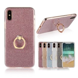 Wholesale Glitter Stickers For Phones - High Quality 2 in 1 Cover With Finger Ring Holder Case Cute Bling Glitter Soft Clear TPU + Stickers Phone Case For iphone 8 7 6s s8