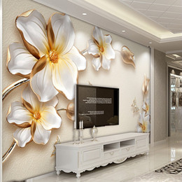 Wholesale Gold Wallpapers - papel de parede Custom photo wallpaper wall murals 3D stereo luxury gold flower jewelry TV wall background wall