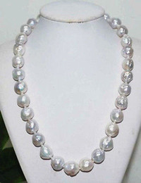"""12 mm earring Canada - baroque 18"""" AAA 12-11 MM SOUTH SEA NATURAL White PEARL NECKLACE 14K GOLD CLASP"""