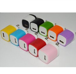 Wholesale Cheapest Iphone 5s - sale Candy Colorful US Plug USB Power Wall Home Travel Charger Adapter For iPhone X 8 7 6 6Plus 5 5S 4 4S s Smartphone cheapest HOT 500pcs