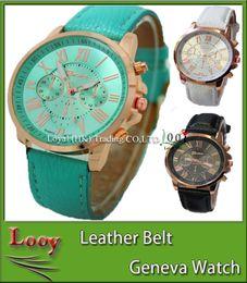 Wholesale Cute Watches For Men - 2016 Christmas Luxury Geneva watches Roman Numerals Watch Wrist watch Faux leather Colorful Candy Cute quartz Exquisite wrist For men womens