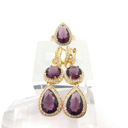Wholesale 14k Garnet Necklace - New Arrival Purple Emerald White Topaz Silver Jewelry Sets For Women Rings fashion Earrings Free Jewelry Box