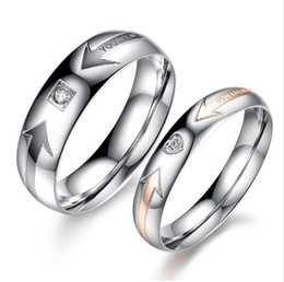 Wholesale Finger Promise Ring - His And Hers Promise Wedding Rings Finger Band Stainless Steel JEWELRY Couple Ring Sets Designer Ring For Women Men GJ415