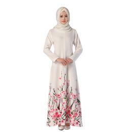 Wholesale Muslim Dresses Females - Women female casual muslim Women dress Fashion Printed muslim Women Dress Large swing type long elegant dress