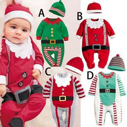 Wholesale Hat Costume Romper - 2016 Baby Christmas Romper Sets with Hat 4styles Infants 2pc Santa Outfits Toddler Girls Boys Santa Romper Jumpsuits Xmas Baby Costume