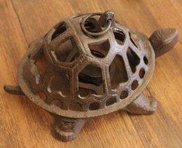 Wholesale Tealight Candle Holder Free Shipping - 2 Pieces Cast Iron Turtle Candle Holder Rustic Metal Wrought Iron Country Rural Home Wall Table Decoration DHL Free Shipping