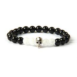 Wholesale skull bead crystals - Powerful Jewelry Wholesale 8mm Natural Black Onyx Stone With Popcorn Crystal Beads Black Cz Skull Beaded Bracelet