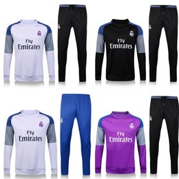 Wholesale Windproof Sweater - 2017 Real Madrid Sweater 2016 17 Long Sleeve Purple Jacket Match Black Pants Training uniform 2016 Real Madrid Training Sweater Tracksuit