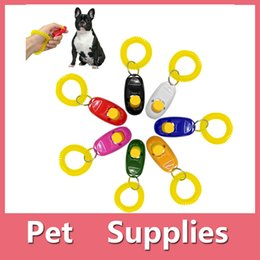 Wholesale Free Puppy Supplies - Hot Sales Pet Supplies Dog Cat Puppy Click Clicker Training Obedience Trainer Aid Tools Plastic Mixed Colors DHL Free 161012
