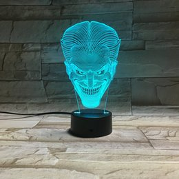 Wholesale Hot Joker - 2016 Hot Joker Face 3D Vision LED night Lights Acrylic Panel 7 Colors change touch control AA Battery Or USB DC5V fairy lights