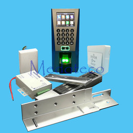 Wholesale Full Door Locks - Wholesale- DIY Full Fingerprint Door Access Control System Kit Fingerprint Access Controller +280KG Magnetic Lock + ZL Bracket Wood Door
