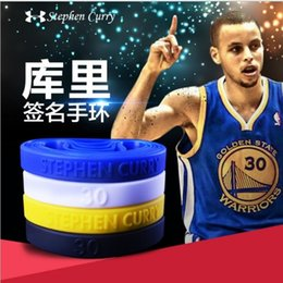 Wholesale Balance Power Bands - 2016 4colors Stephen Curry Basketball 30 MVP Wristband Sports Bracelet Power Bands Balance Energy Silicone Wristband