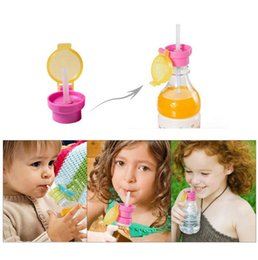 Wholesale Feed Caps - Children Portable Spill Proof Juice Soda Water Bottle Twist Cover Cap With Straw Drink Straw Sippy Cap Feeding for Kids 200pcs OOA2770
