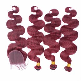 Wholesale 99j human hair wavy - 99J Brazilian Hair With 4X4 Lace Closure Burgundy Body Wave Human Hair Bundles With Closure Wine Red Wavy Hair With Top Closure