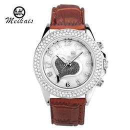 Wholesale Leather Belt Name Brands - Hot meikais Brands Women's New Luxury Name Brand Women's Rhinestone Fashion Casual Watches Diy Mk Silicone Leather belt Dress wristwatch