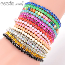 Wholesale Bracelet Ring Combination - New Arrivals Mixed wholesale DIY Combination Colorful Elasticity Rhinestone charm bracelet Fashion bracelet For Woman 22 cols P2