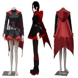 Heiße populäre Anime-Zeichentrickfilm-Figuren RWBY roter Anhänger Ruby Rose Cosplay Kostüm mit Mantel für Halloween-Partei von Fabrikanten