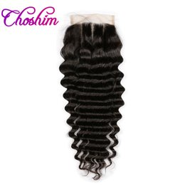 brazilian human hair side closure Promo Codes - Three Part Deep Wave Lace Closure Human Hair Natural Color Choshim KL 4x4 Brazilian Remy Hair Closure Bleached Knots With Baby Hair