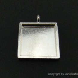 Wholesale Silver Tone Pendant Setting - Inner 20mm Hole 3mm in Silver Tone Square Bezel Cabochon Settings 20pcs Wholesale Blank Tray Setting Charm Pendants for DIY