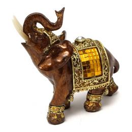 Wholesale Statue Decorations - Decorative Figurines Elephant With Diamond Elephant Statue Resin Souvenir Garden Figures Miniature Home Decoration Accessories