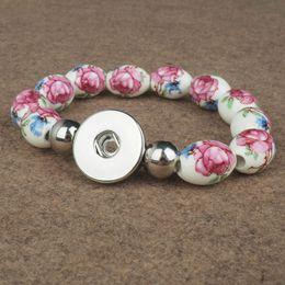 Wholesale crystal flower bracelet - 18MM flower Natural Snaps elastic Beads Bracelet Crystal Snap Button Bracelet for Women Bangles DIY Snap Jewelry