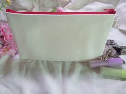 Wholesale Mobile Phone Pencil - Girls NEW pure cotton canvas cosmetic Bags DIY women blank plain zipper makeup bags Mobile phone clutch bag organizer cases pencil pouches