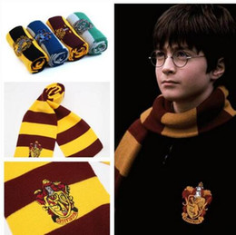 Wholesale College Scarves - New recommend Harry Potter college-style striped knitting scarfs winter magic school designer wool scarves Christmas gifts wholesale