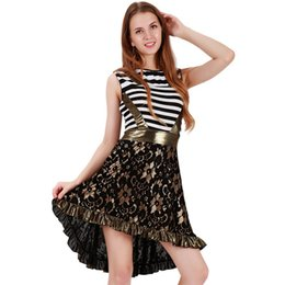 Wholesale Vintage Ruffle Summer Dress - Sexy Black Lace Sleeveless Dress Vintage Women Summer Striped Patchwork Lace Embroidery Floral Ruffle Sexy Club Robe Vestidos XXL WB009076