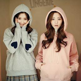 Wholesale Korean Women Fashion Suits - harajuku hoodie 2017 korean hooded tracksuit women sweatshirt women spring kawaii love hoodies women sport suit set sweatshirts
