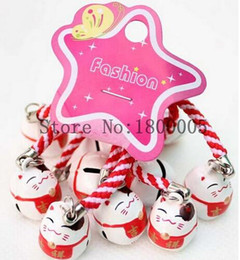 Wholesale Lucky Cats For Sale - 50 pcs lovely Maneki Neko Means Good fortune Lucky Cat Pendant Cell Phone Charm Straps with Bell For Sale