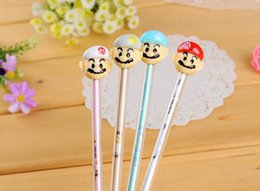 Wholesale Super Black Ink - 12pcs lot Super Mario gel pen with mushroom STAMP gel pen refill small gel ink pen kawaii penna for kids sakura