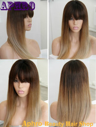 Wholesale Hair Bangs Light Blonde - Premium Glueless Ombre Silk Top Full Lace Brazilian Human Hair Wigs With Bangs 130%Density Brown Blonde Lace Front Wigs For Sale